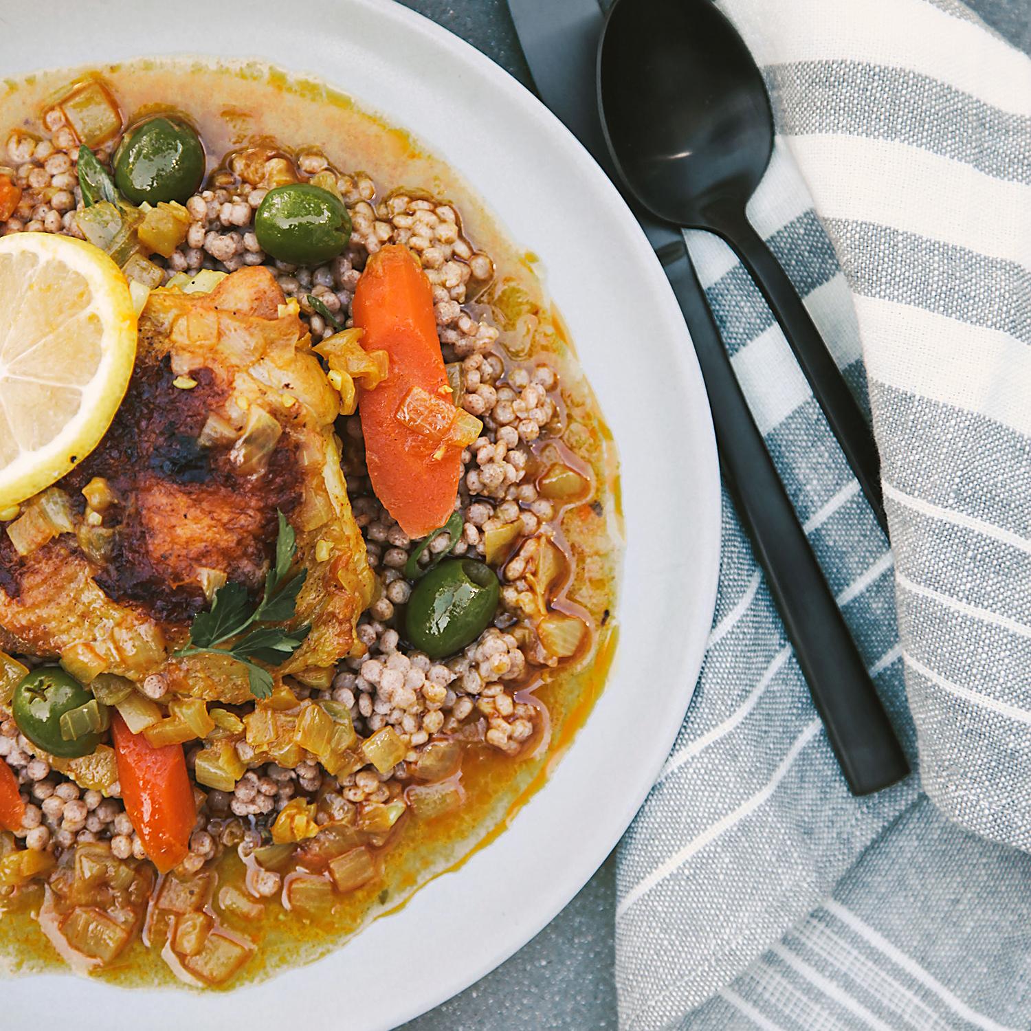 molly's moroccan chicken with green olives and lemon