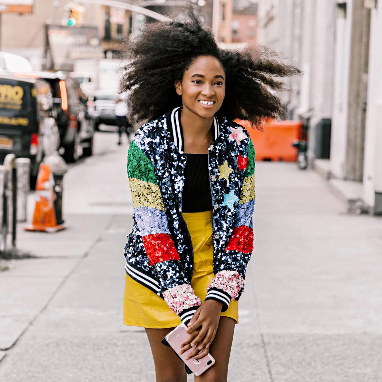 woman wearing bright hues promo