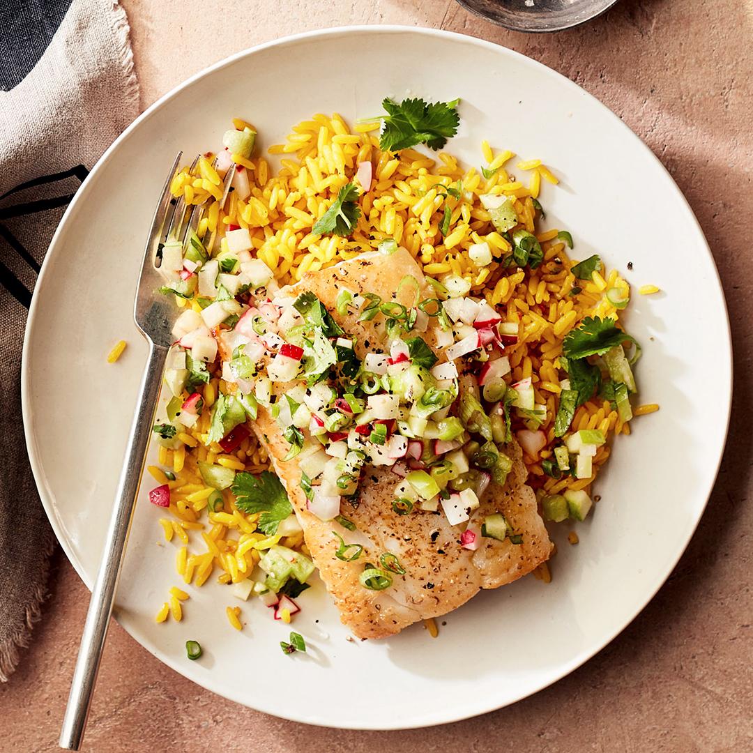 seared white fish with green pico de gallo