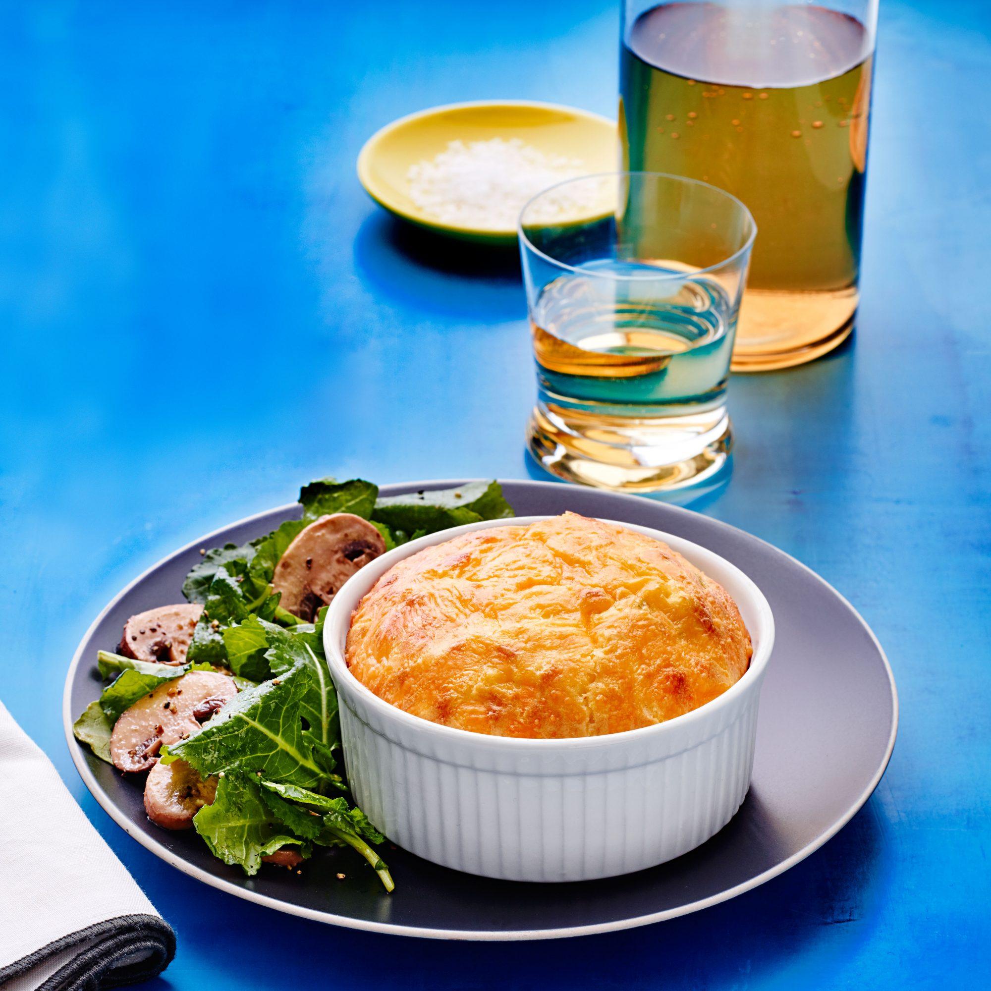 Corn & Cheddar Souffles with Kale & Mushroom Salad