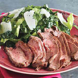 Sliced Steaks with Kale Caesar Salad