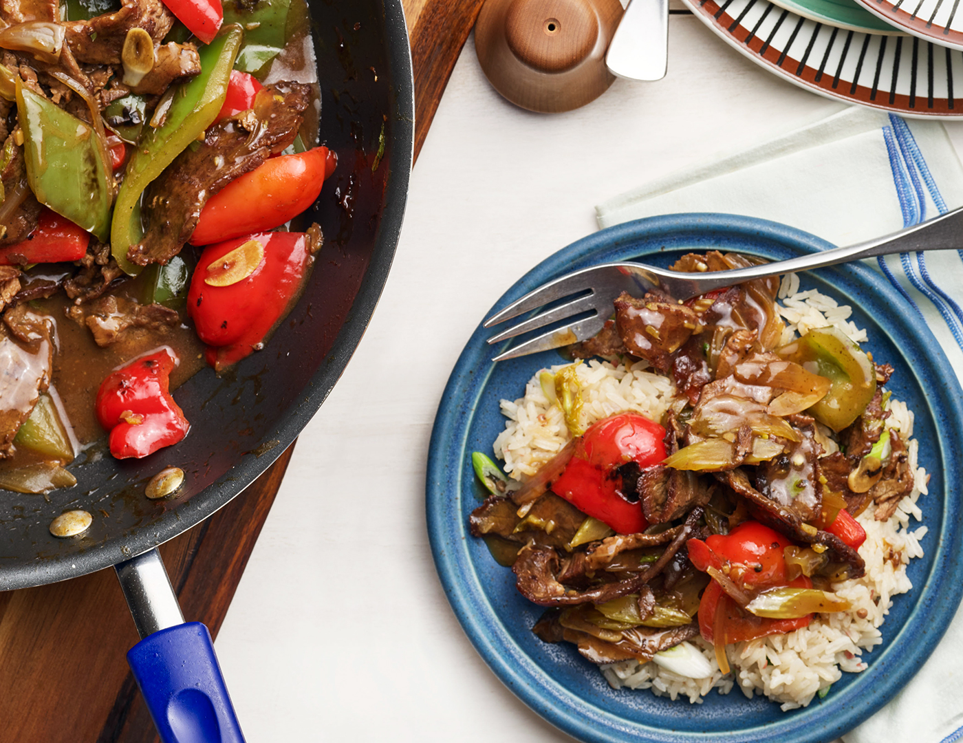 shaved flank steak with sweet peppers