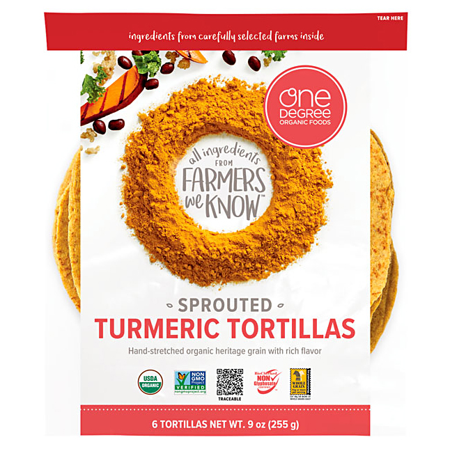 one degree sprouted grain turmeric tortillas