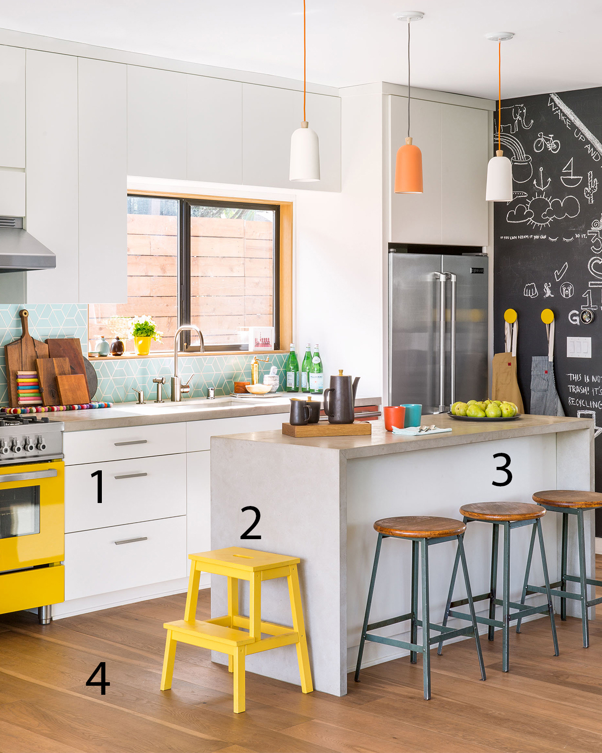 kitchen yellow accents numbers