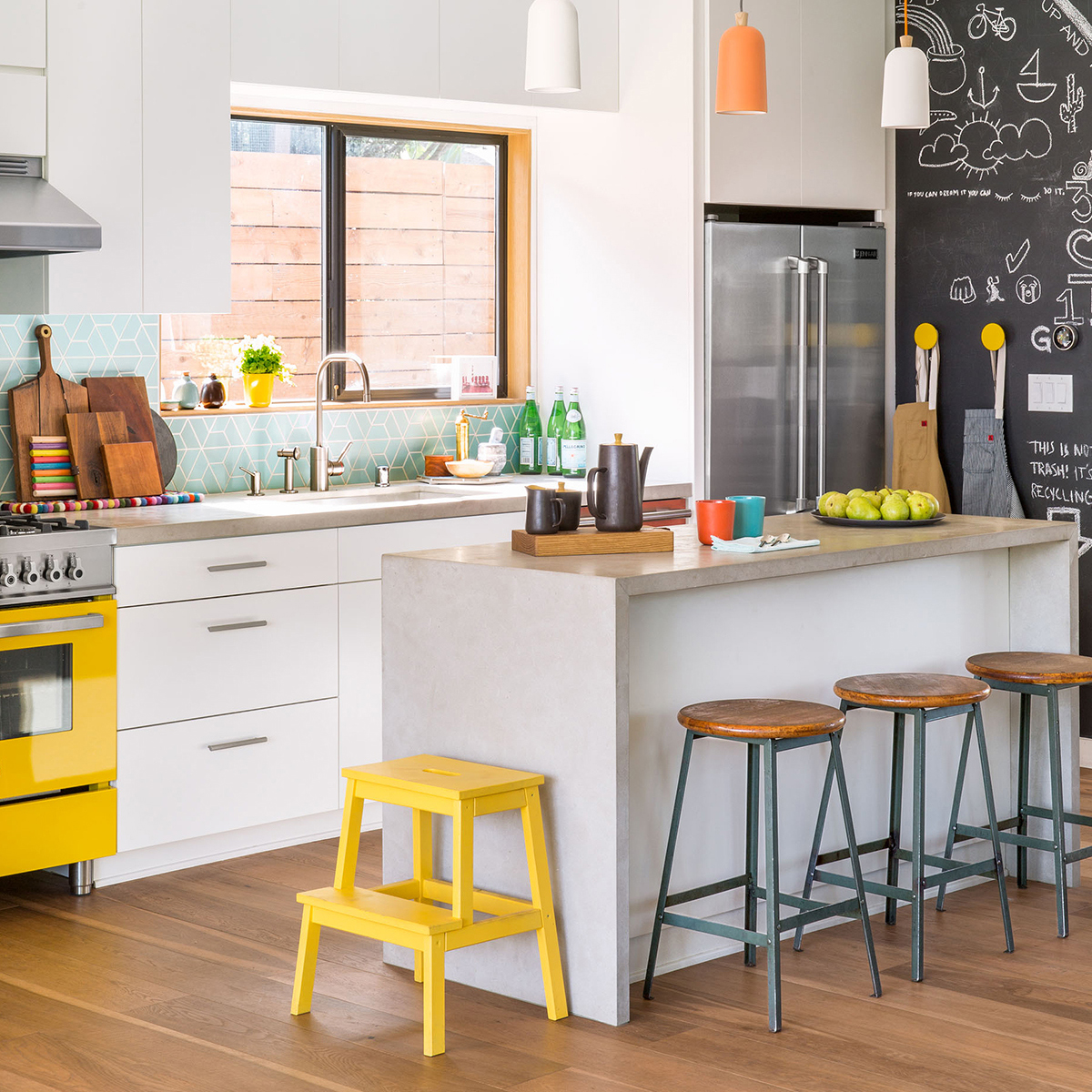 kitchen yellow accents square