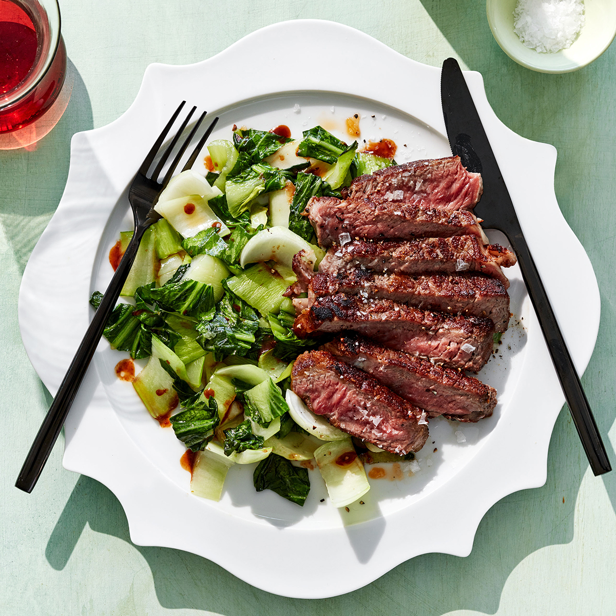 Seared Ribeye with Wilted Bok Choy
