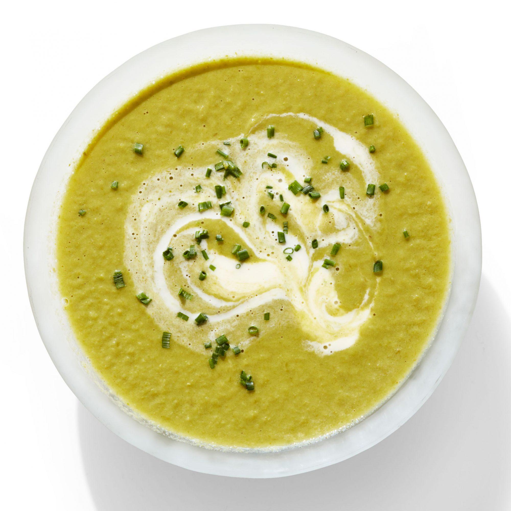 creamy asparagus soup with lime crème fraîche