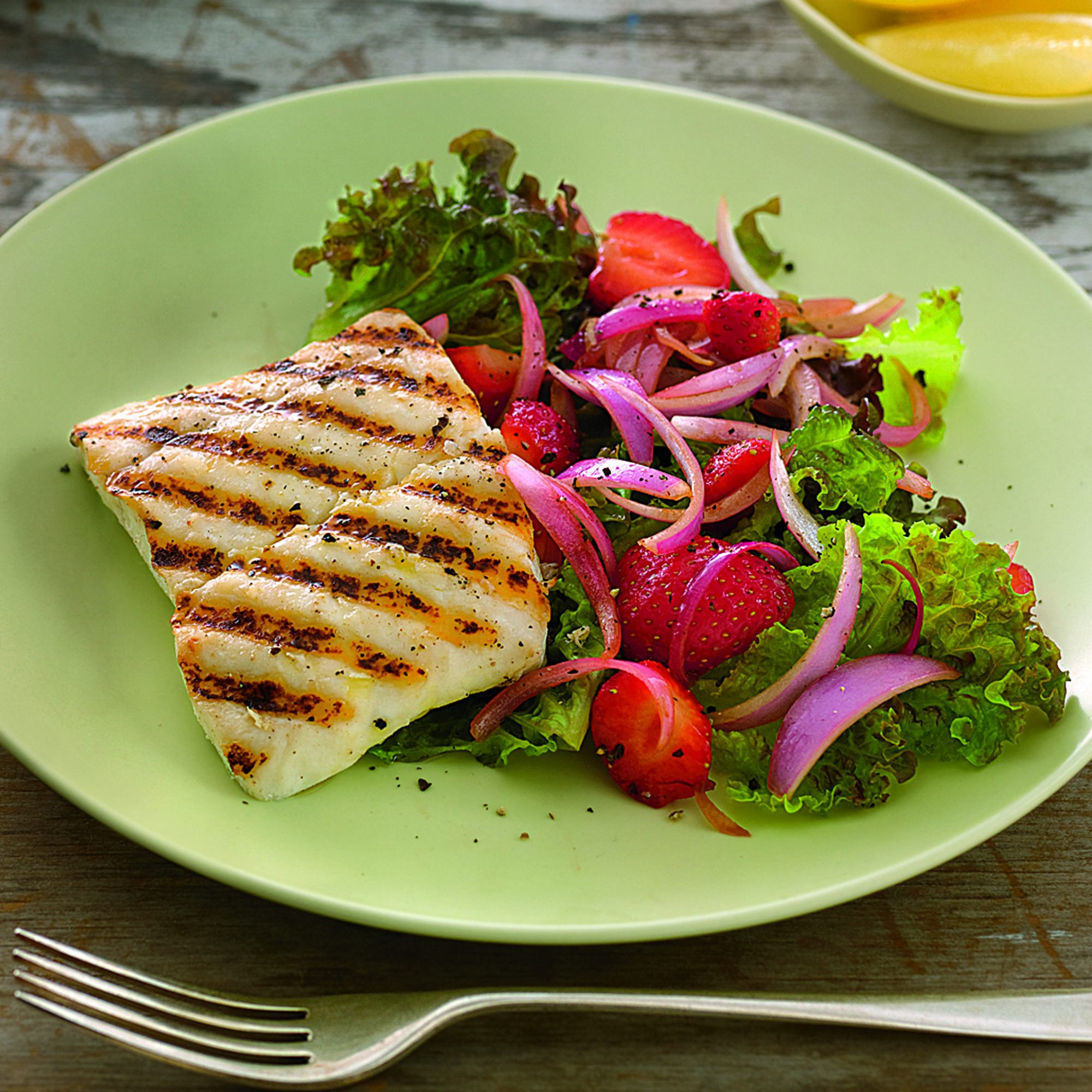 Grilled Halibut with Strawberry Salad