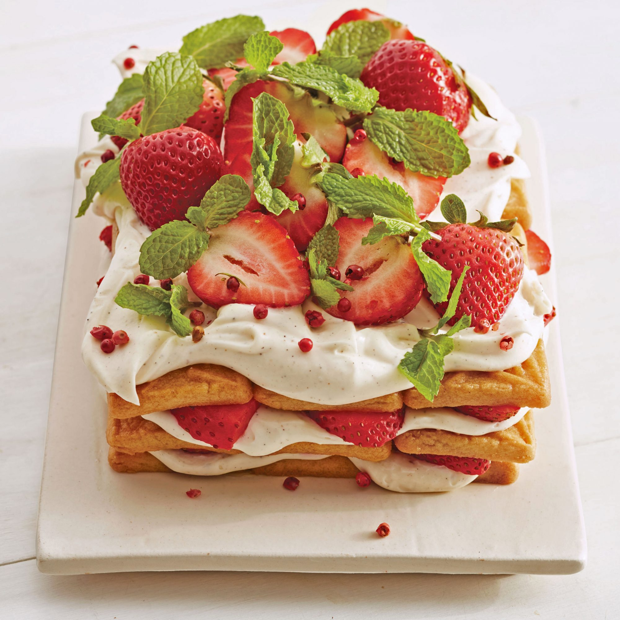 pink peppercorn strawberry icebox cake