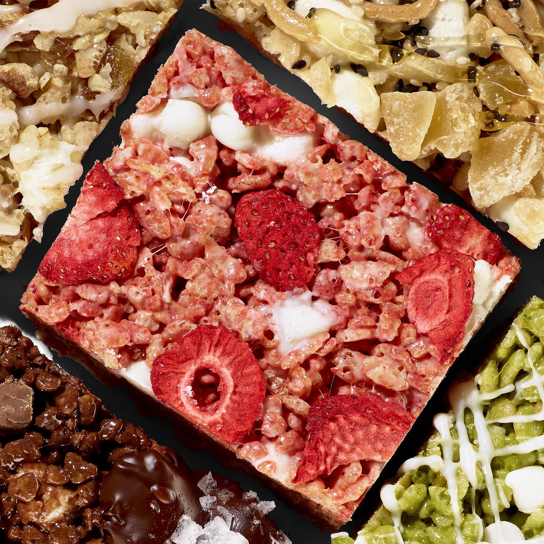 Strawberries & Cream Crispy Rice Bars