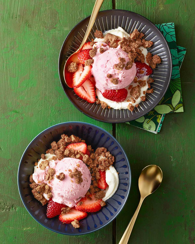 Strawberry Cheesecake Ice Cream with Graham Cracker Crumble