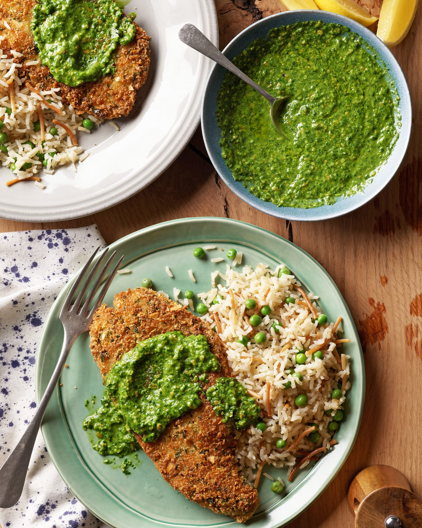 almond-crusted sole with chard pesto & rice pilaf with peas