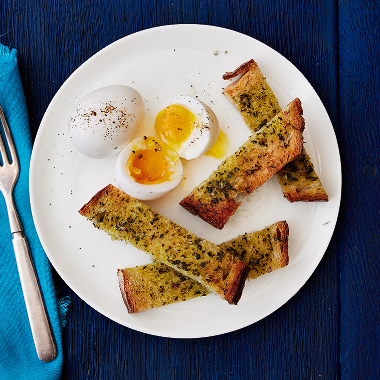 eggs with basil soldiers