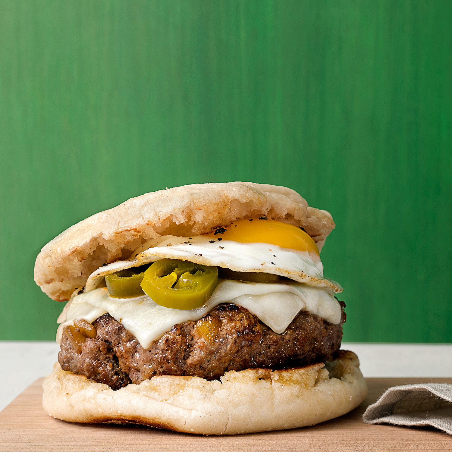 Breakfast Burgers with Green Chiles and Fried Eggs