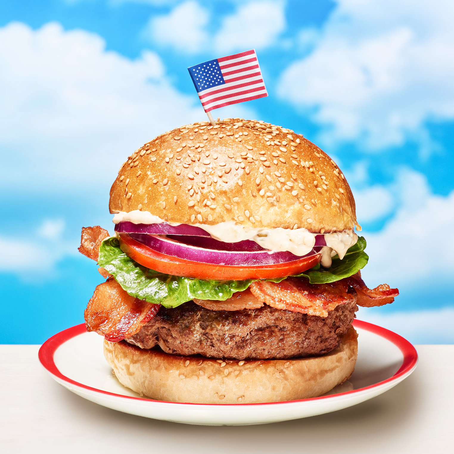 Burgers with Red, White & Blue Special Sauce, Bacon, Lettuce, Tomato & Onion