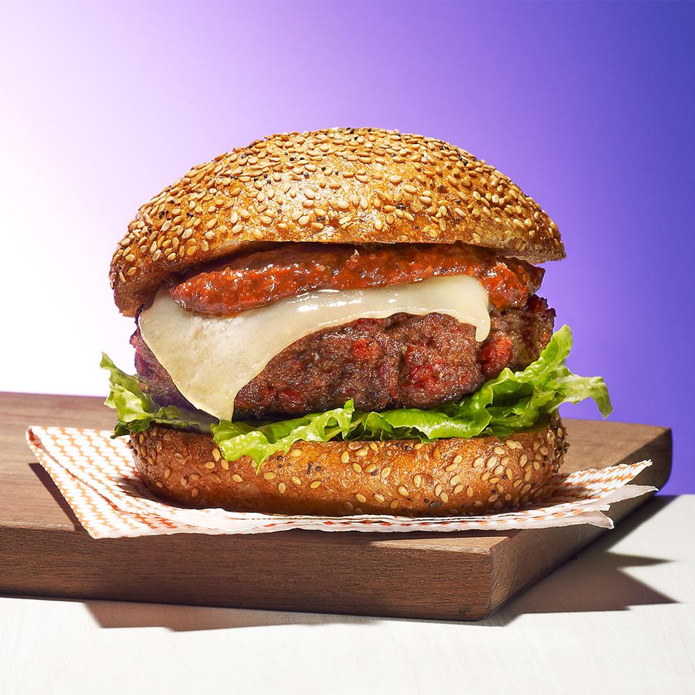 Manchego Cheeseburgers with Romesco Sauce
