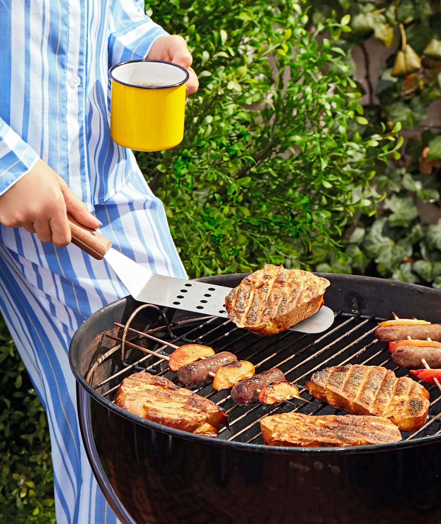 grilling breakfast in pajamas