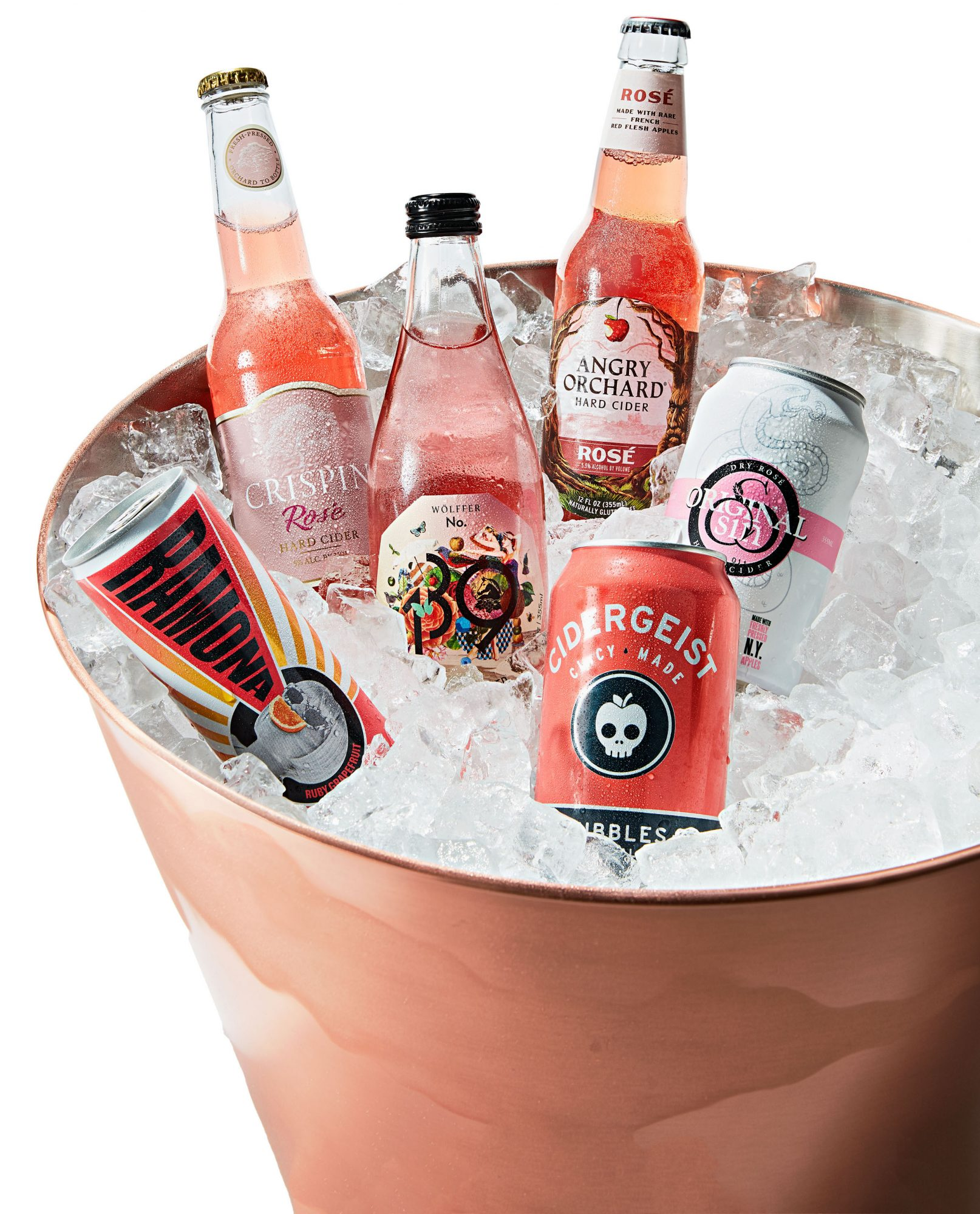 rose cans and bottles on ice