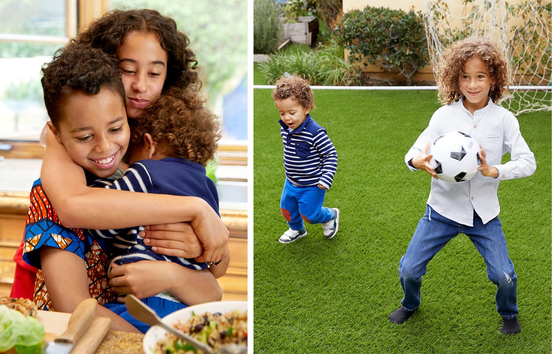 ziggy marleys kids hugging and playing soccer