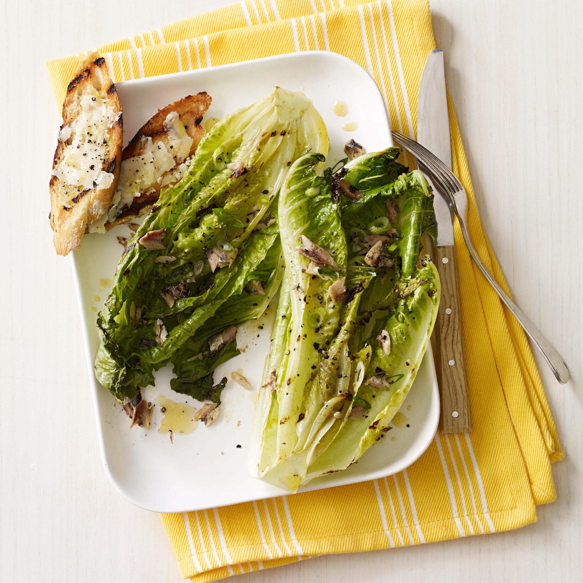 grilled caesar salad with parmesan crostini