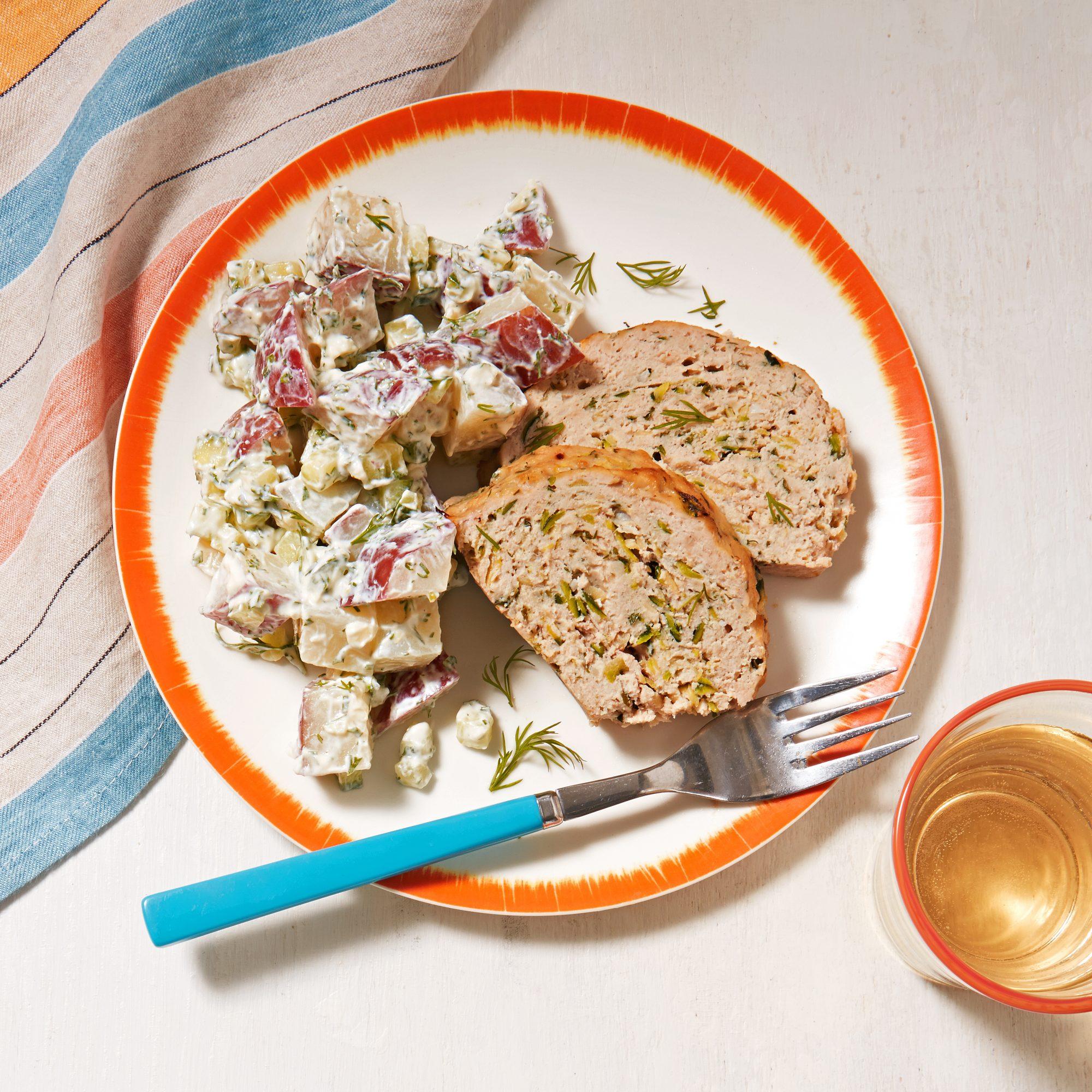 herbed chicken meat loaf potato salad