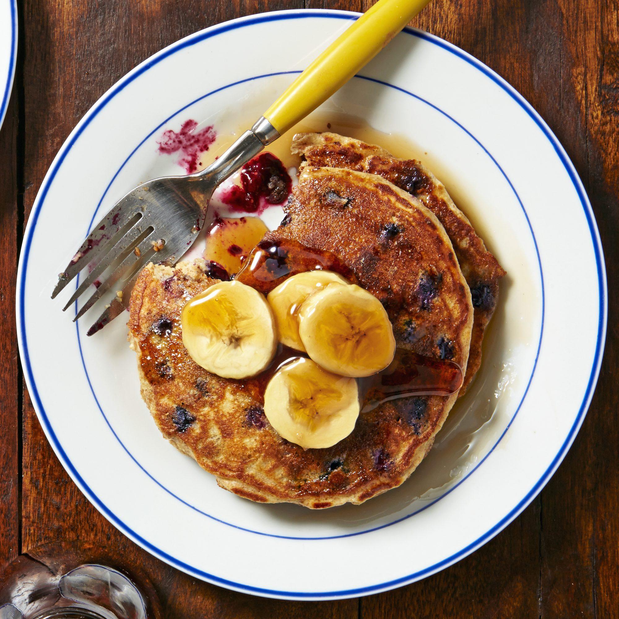 Blueberry Pancakes with Caramelized Bananas