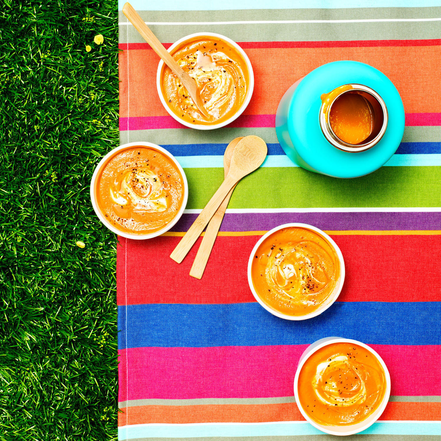Chilled Red Pepper & Carrot Soup with Yogurt