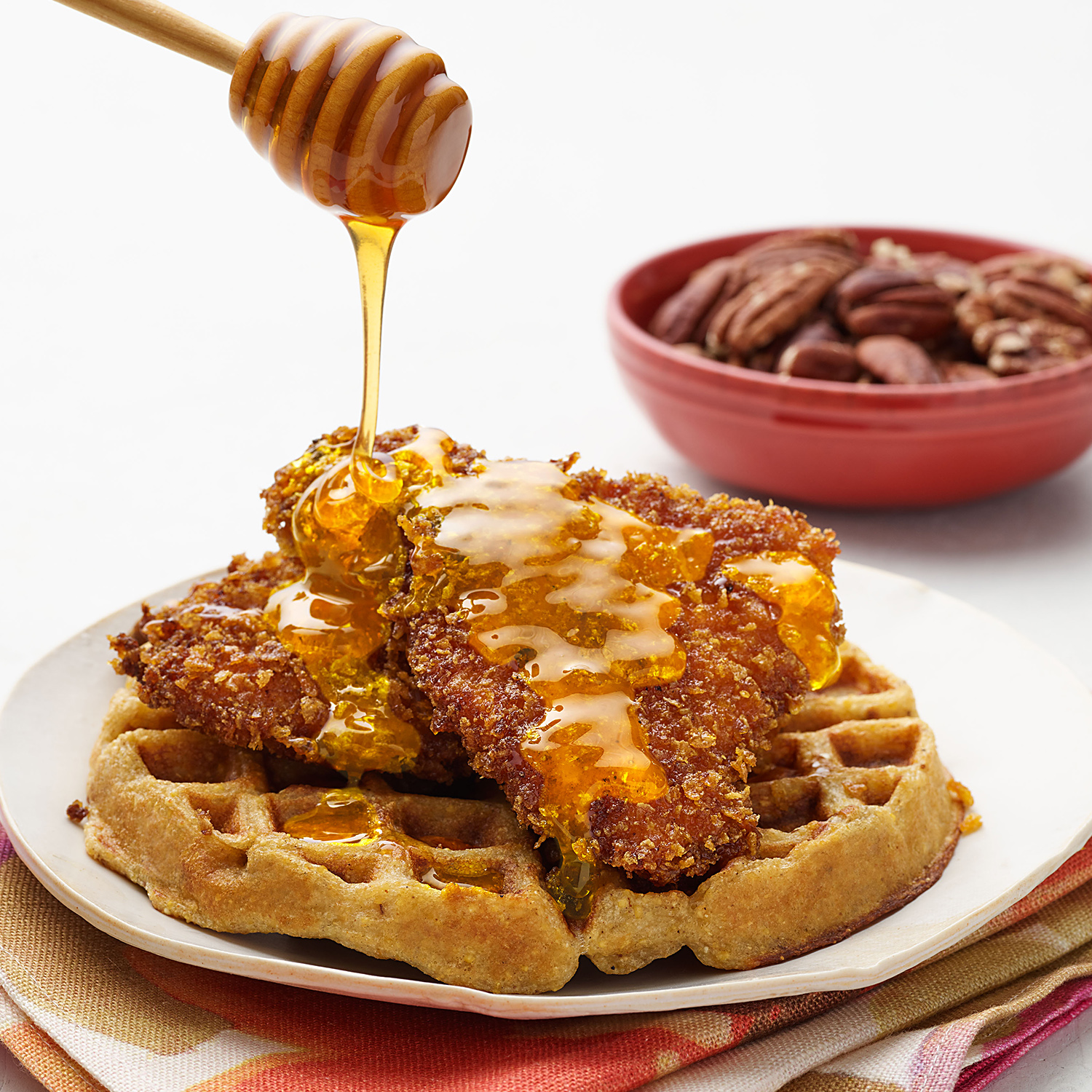 Cornflake-Fried Chicken & Waffles with Pecans