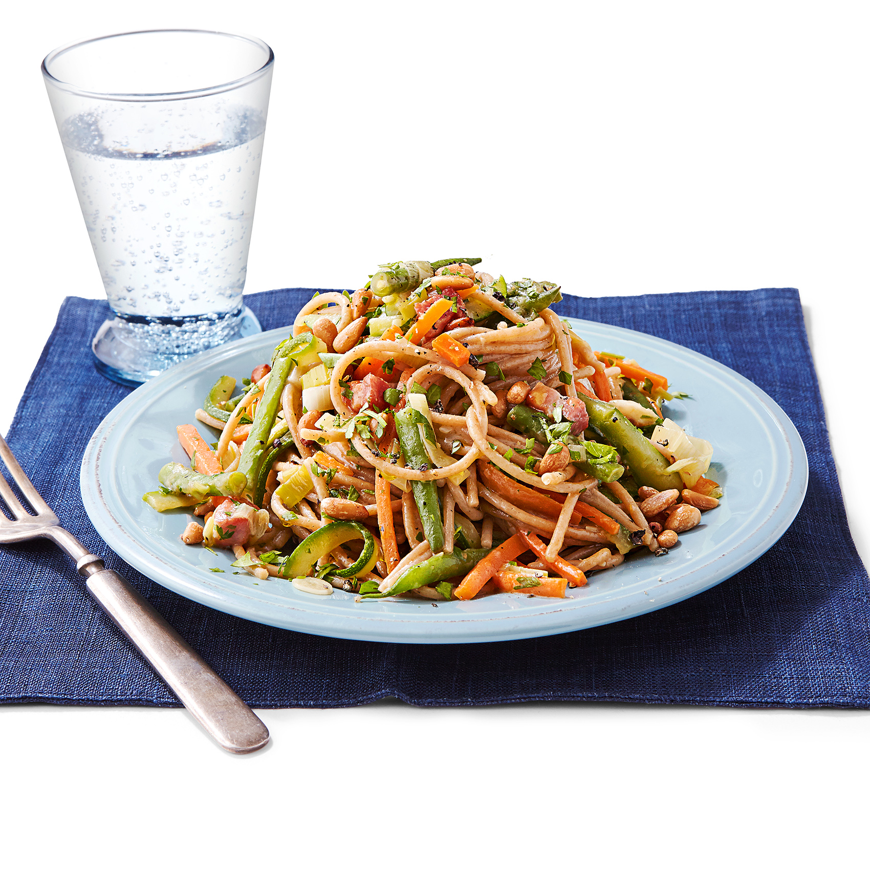 farro spaghetti with vegetables
