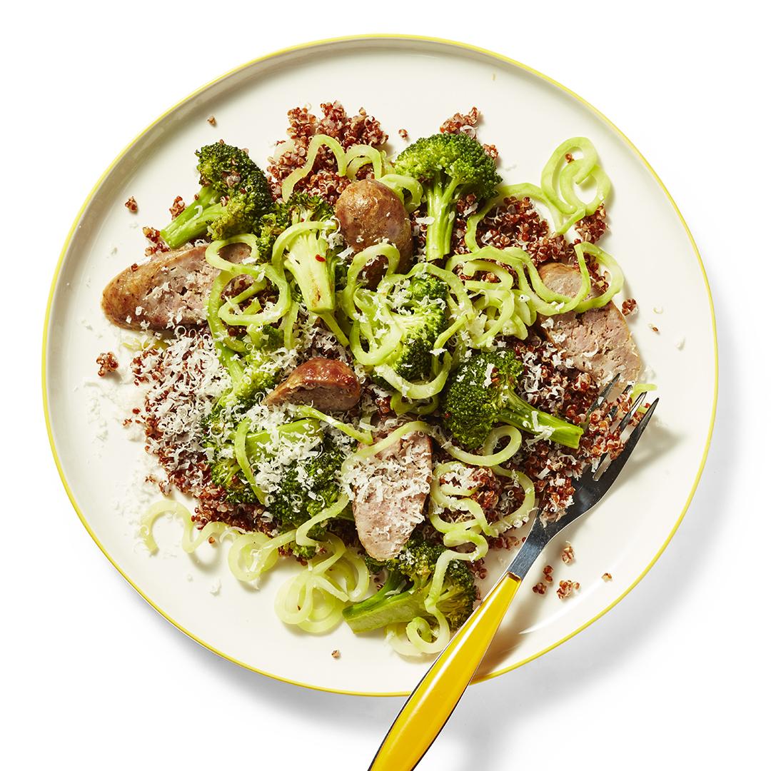 quinoa & sausage with broccoli noodles