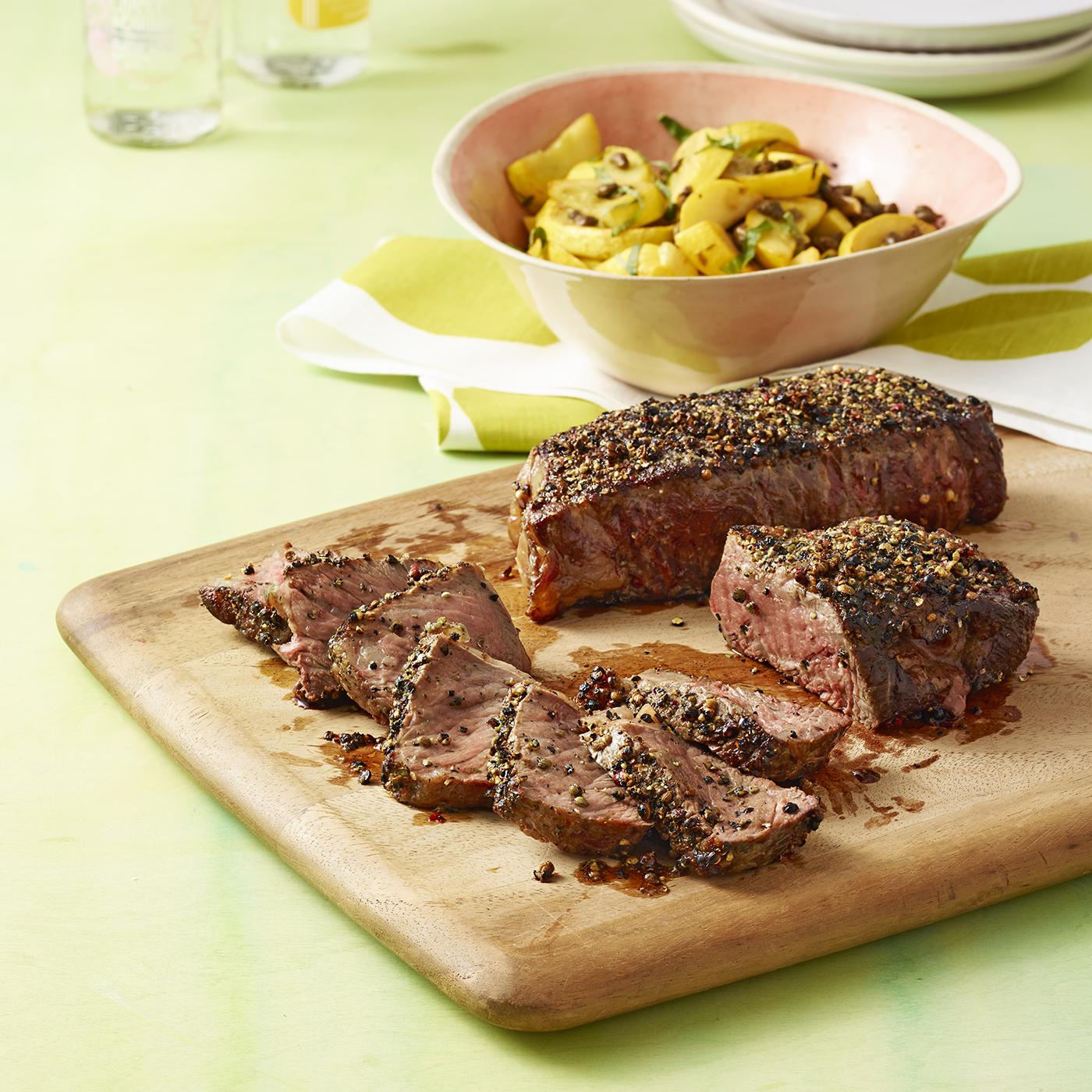 coriander-crusted steak with squash
