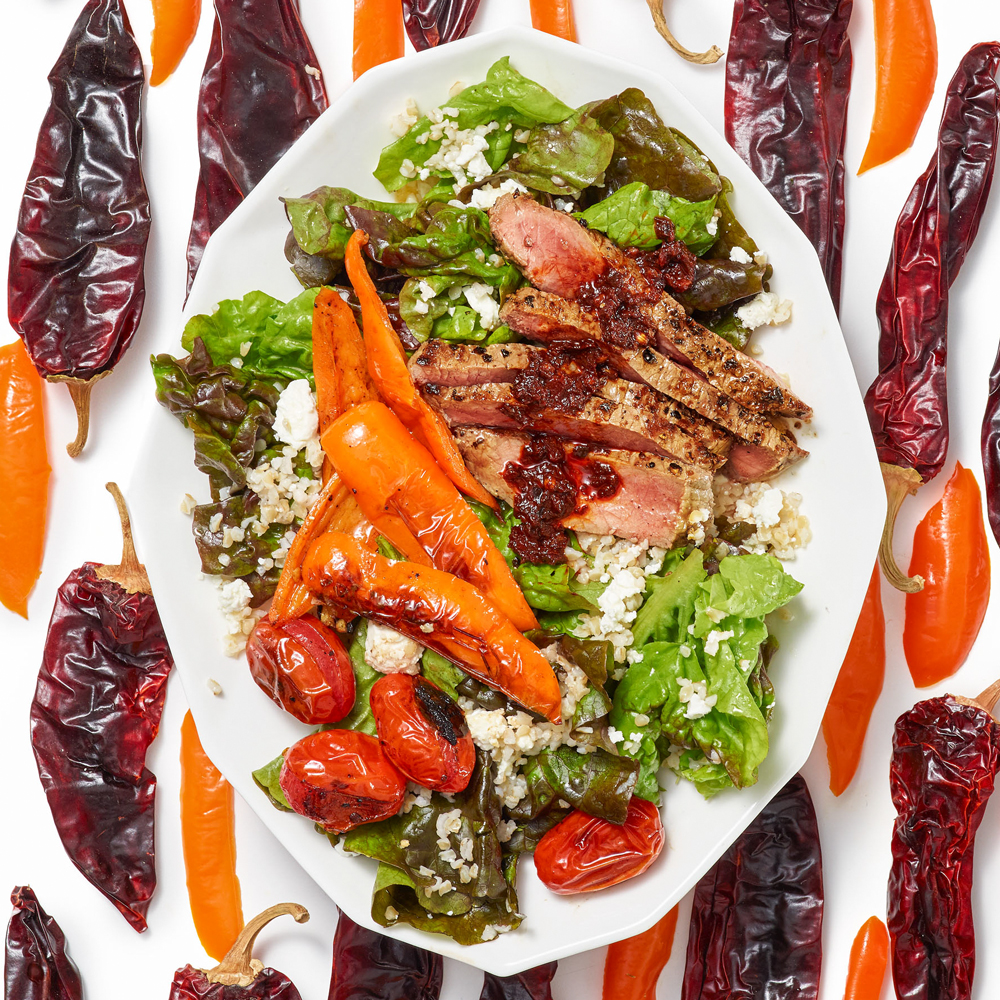 Harissa-Spiked Steak Salad with Blistered Chiles