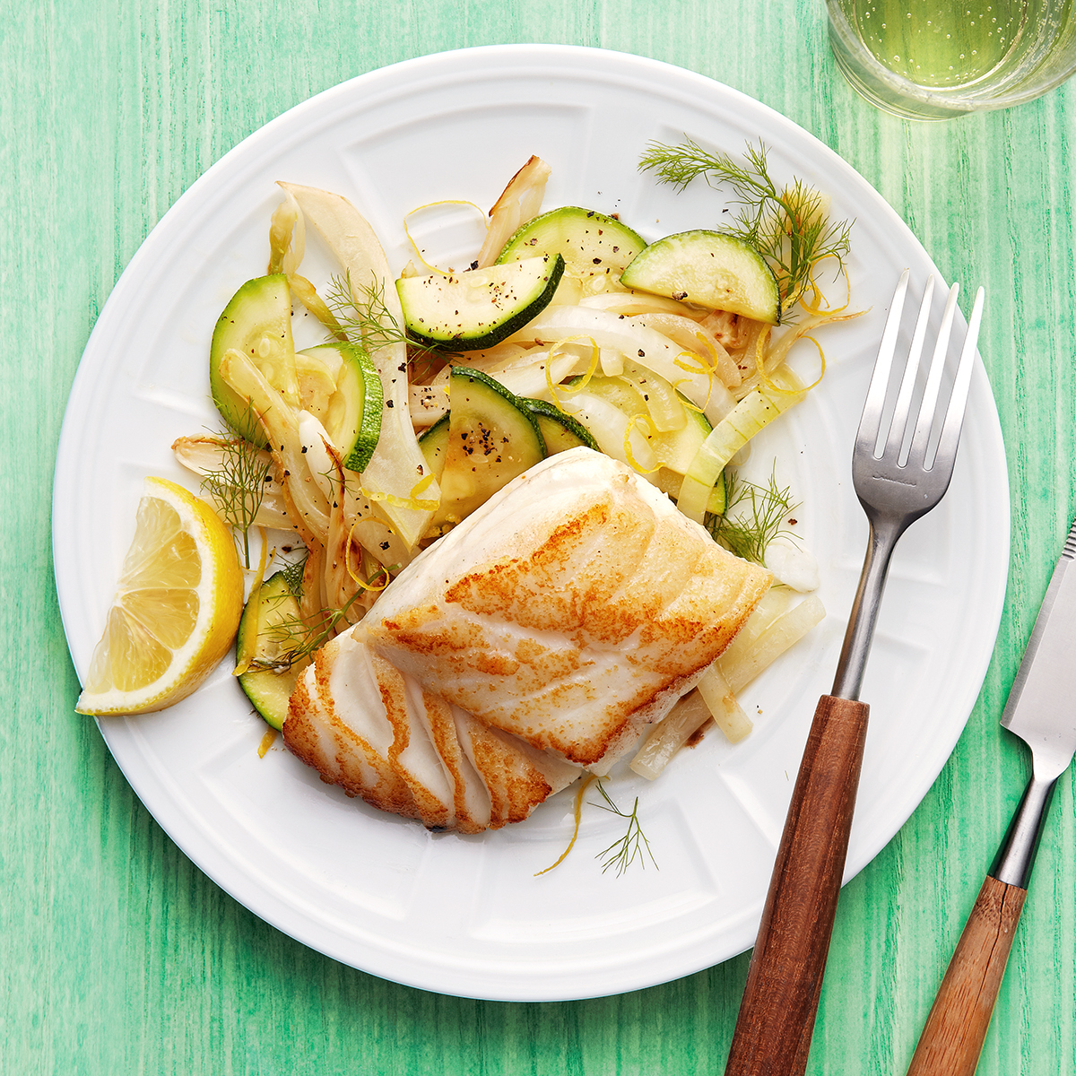 panfried cod with fennel and squash