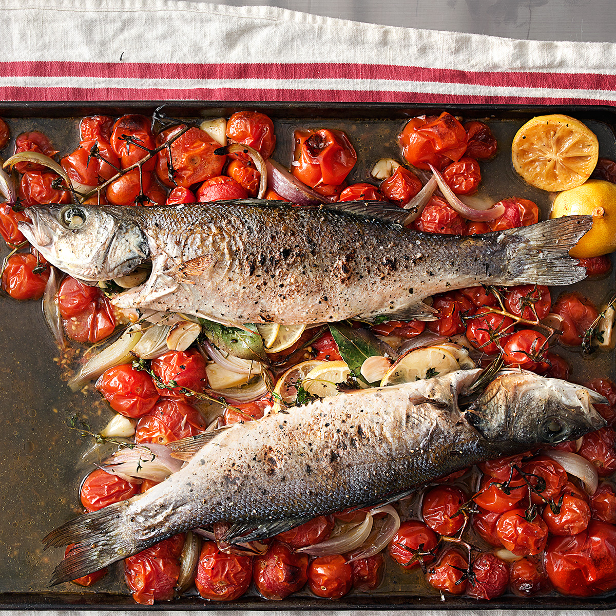quick roasted branzino with dry vermouth tomatoes