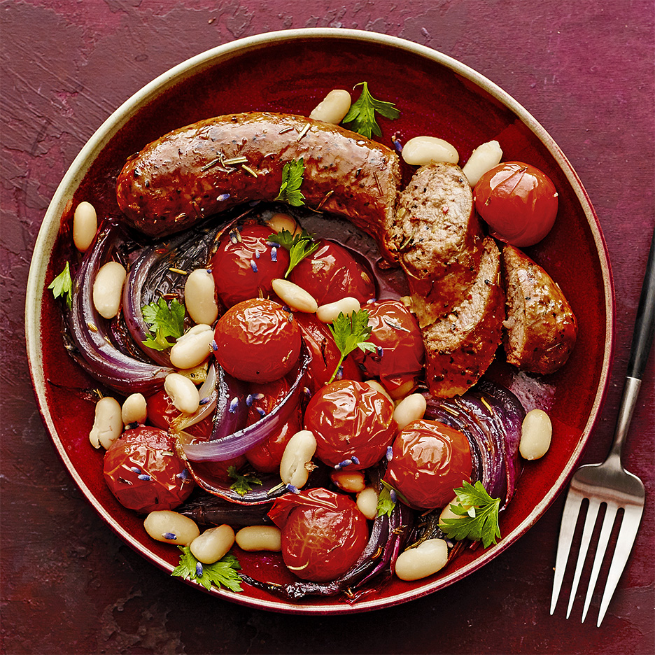 roasted sausages with tomatoes white beans