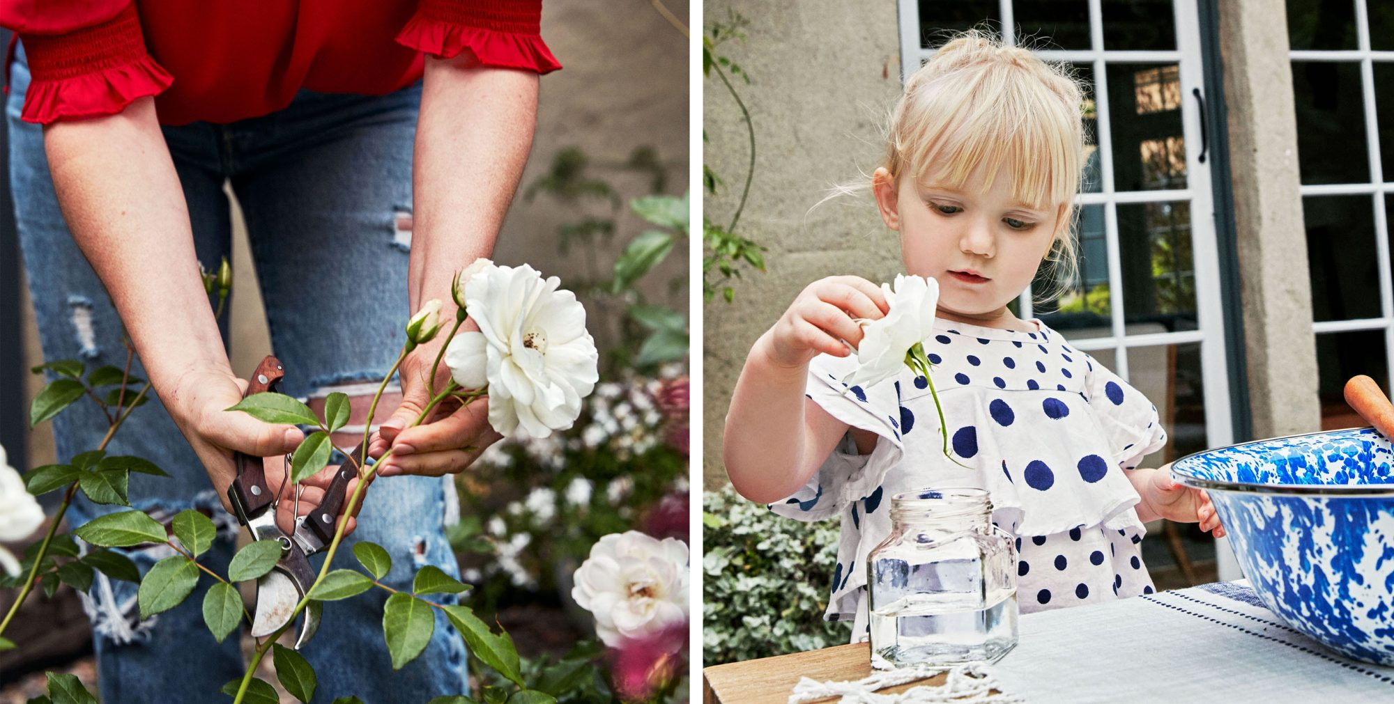 emily henderson and daughter arranging flowers