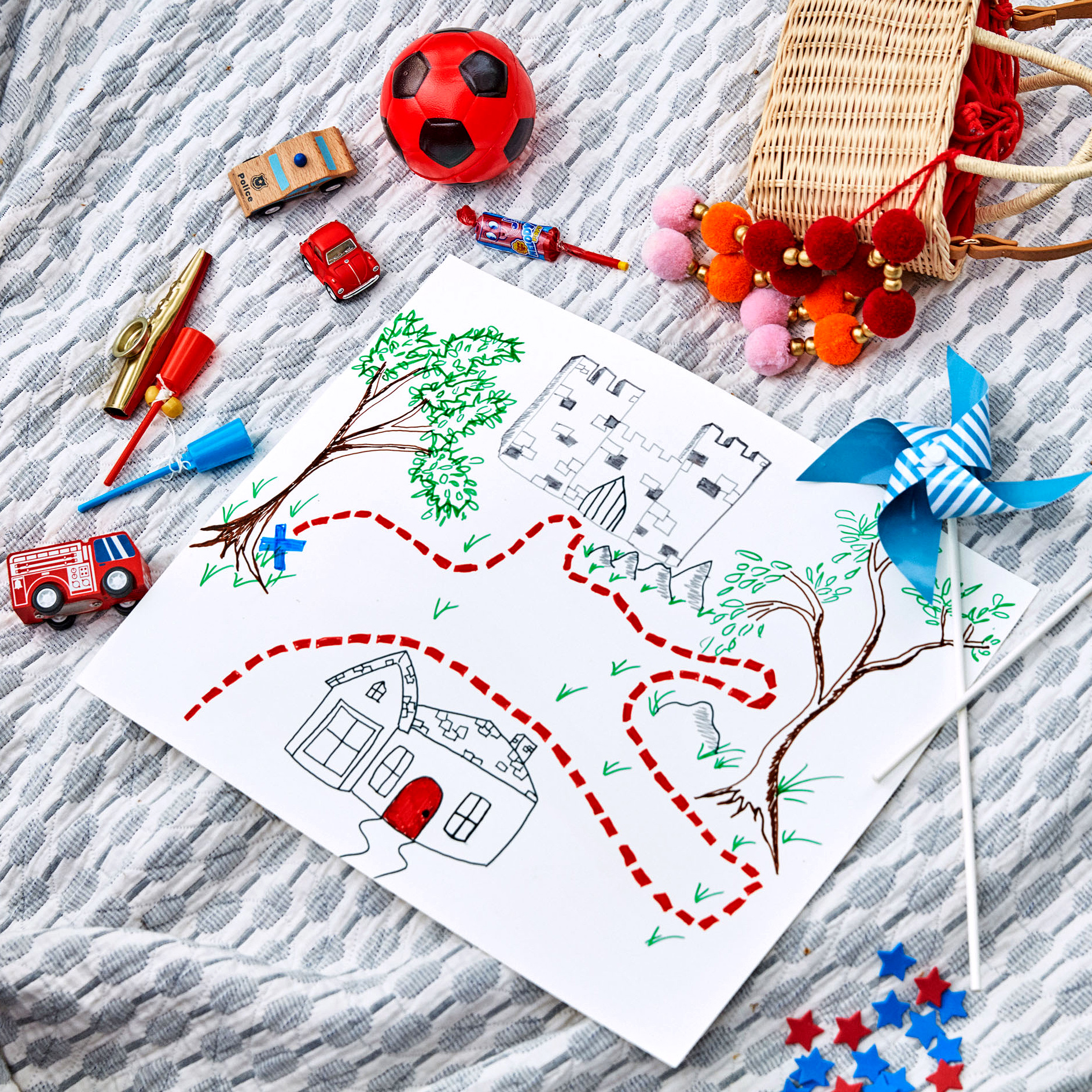 hand-drawn july fourth scavenger hunt map