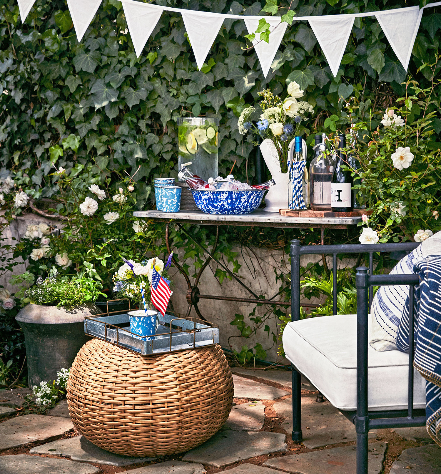 outdoor patio hydration station and decor