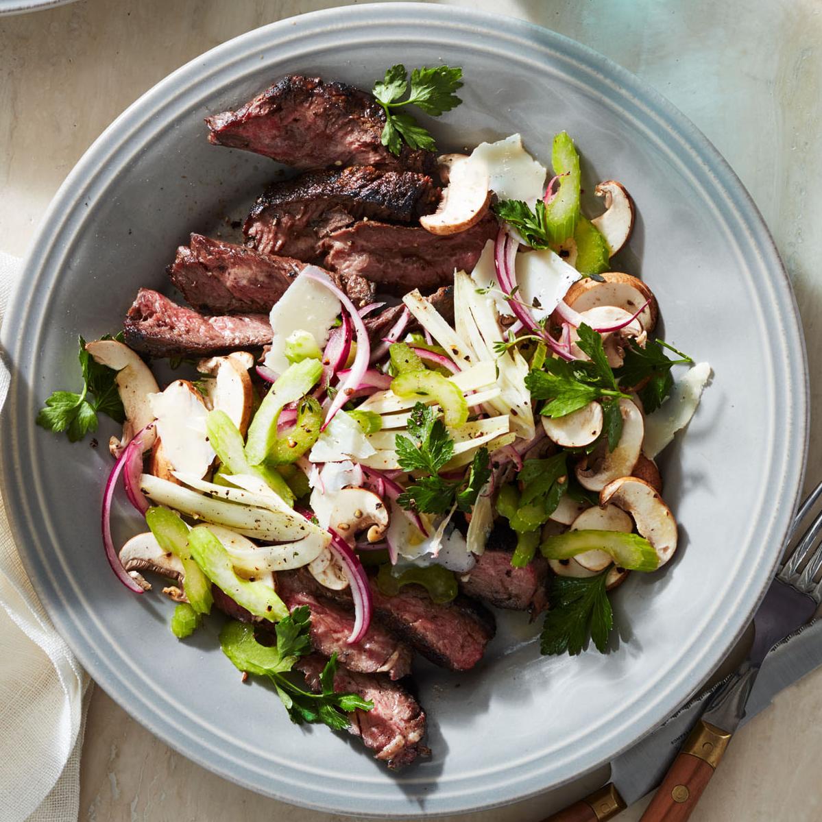 hanger steaks celery fennel mushroom salad
