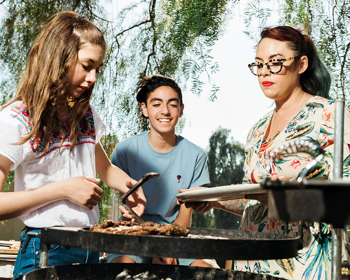 claudette zepeda-wilkins and kids grilling
