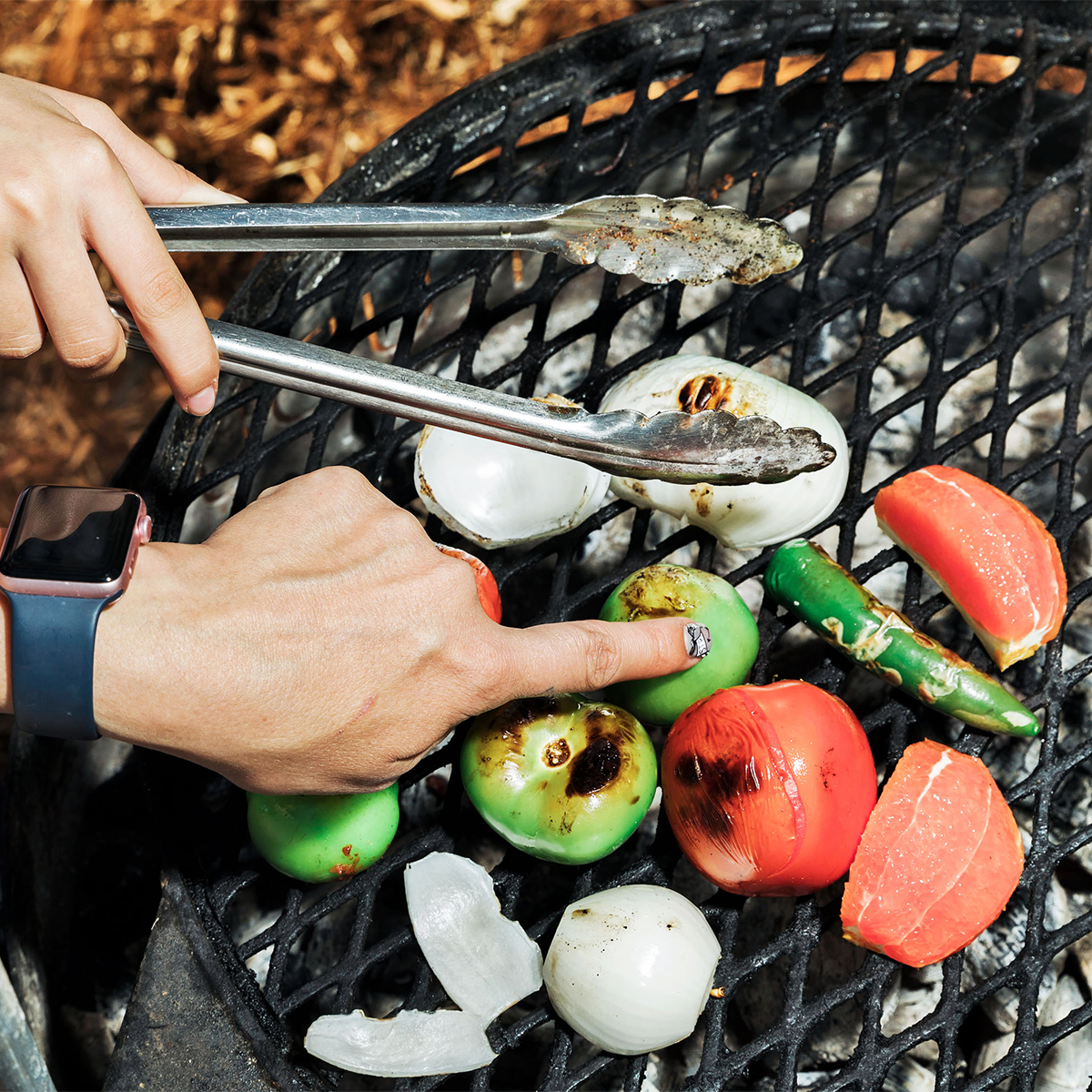 grill char vegetables
