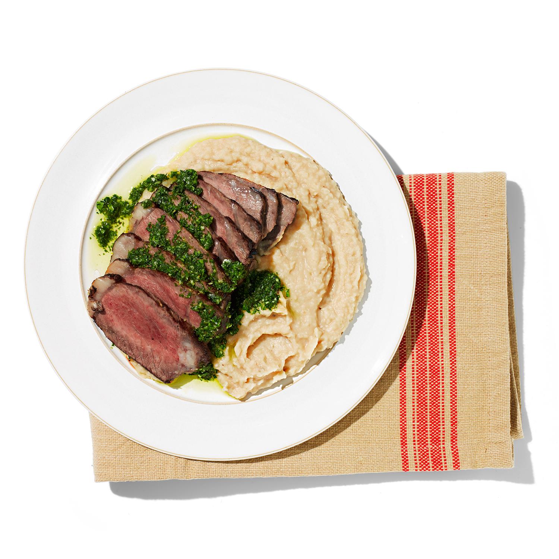 Herbed Steak with White Bean Puree