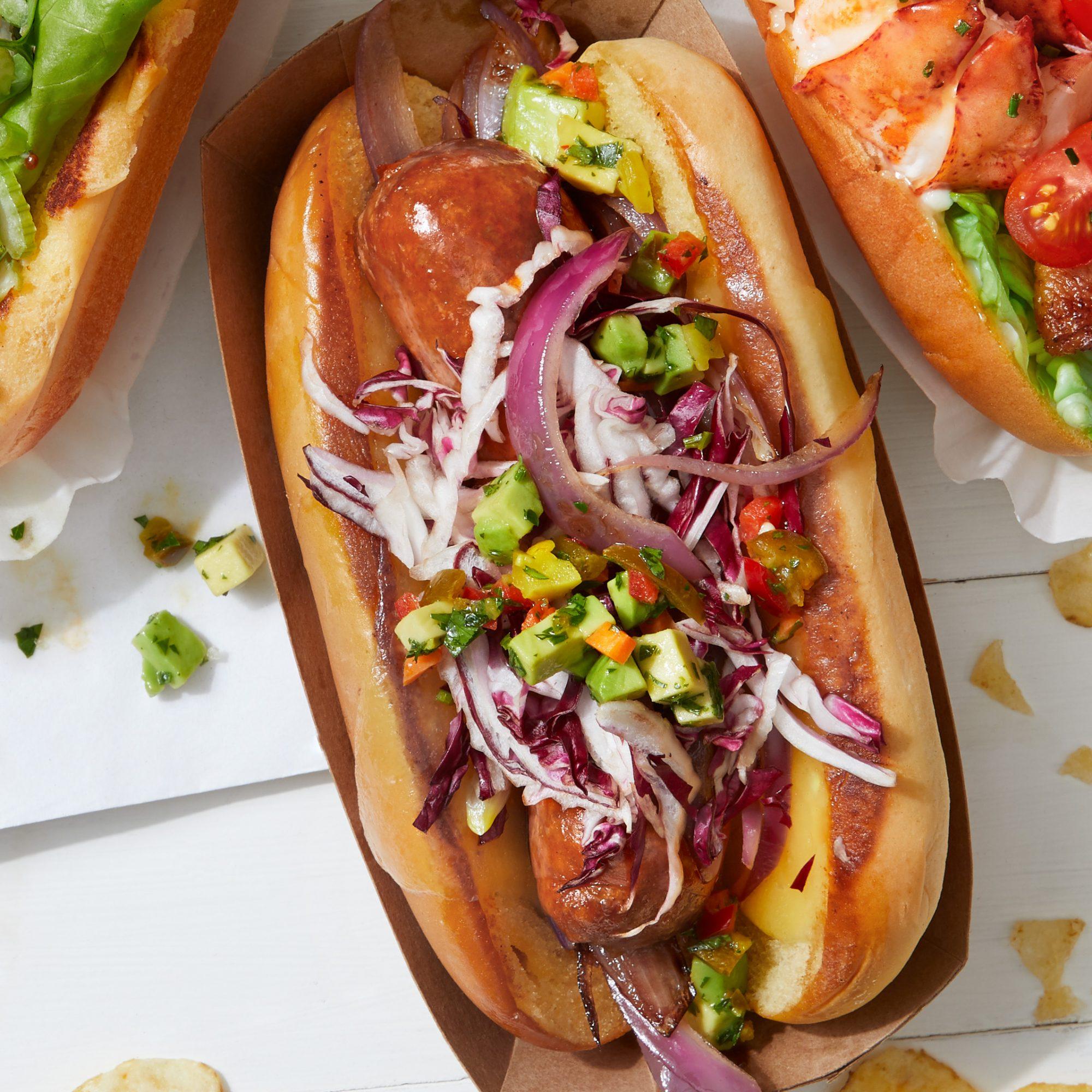 chorizo dog with avocado salsa