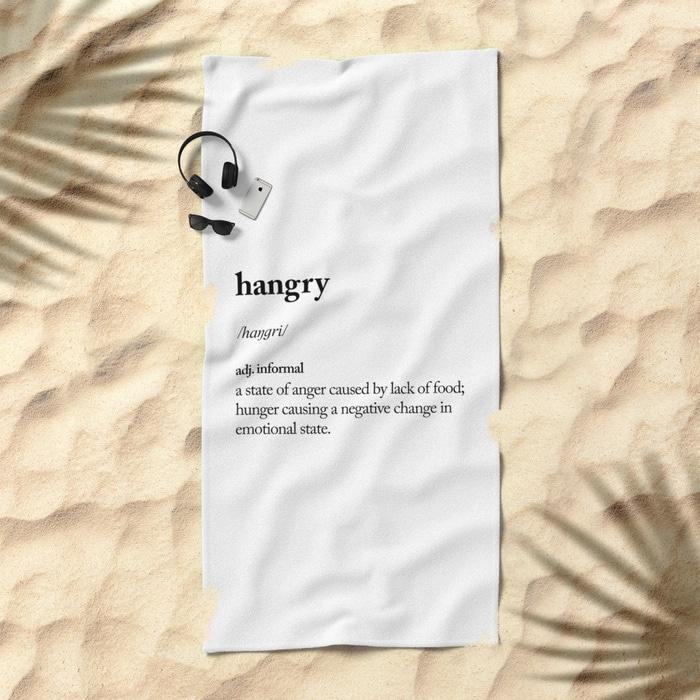 hangry-beach-towel-society6