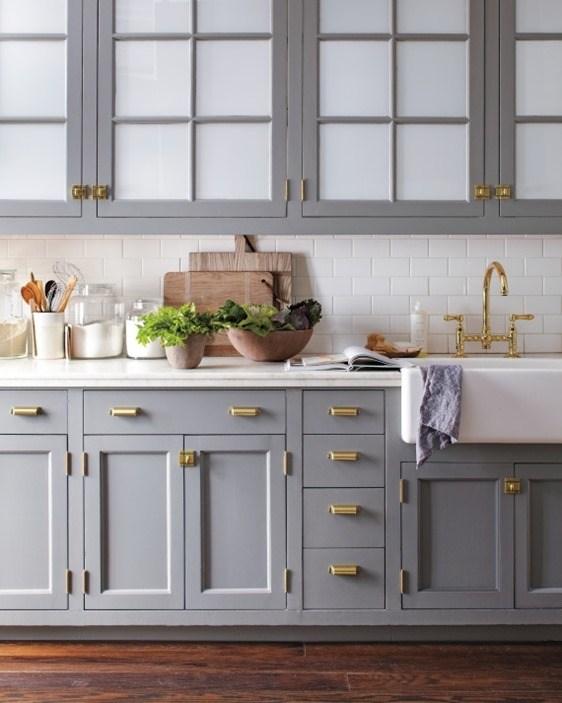 gray-cabinets-brass-hardware