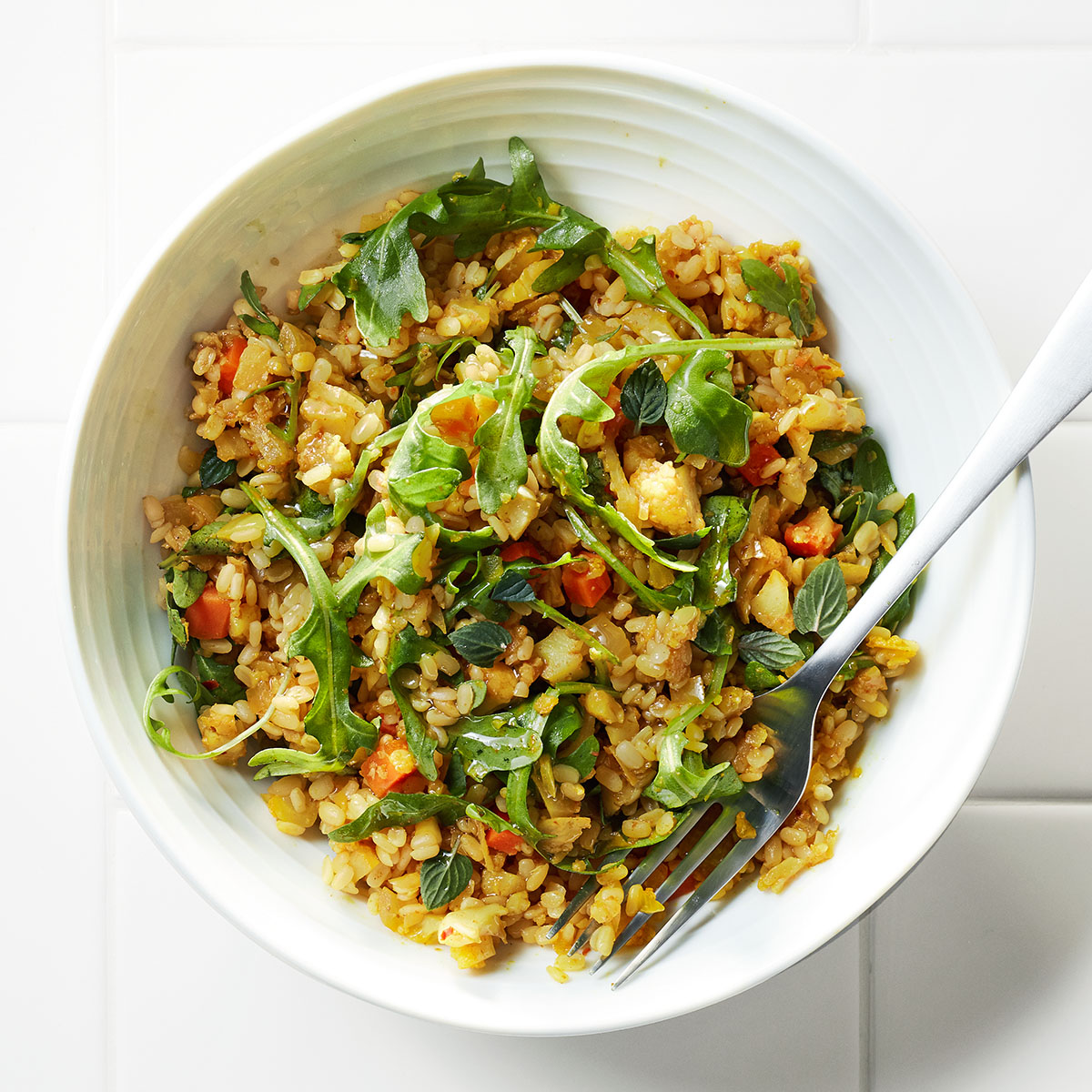 Curry Cauliflower Couscous with Lentils & Arugula