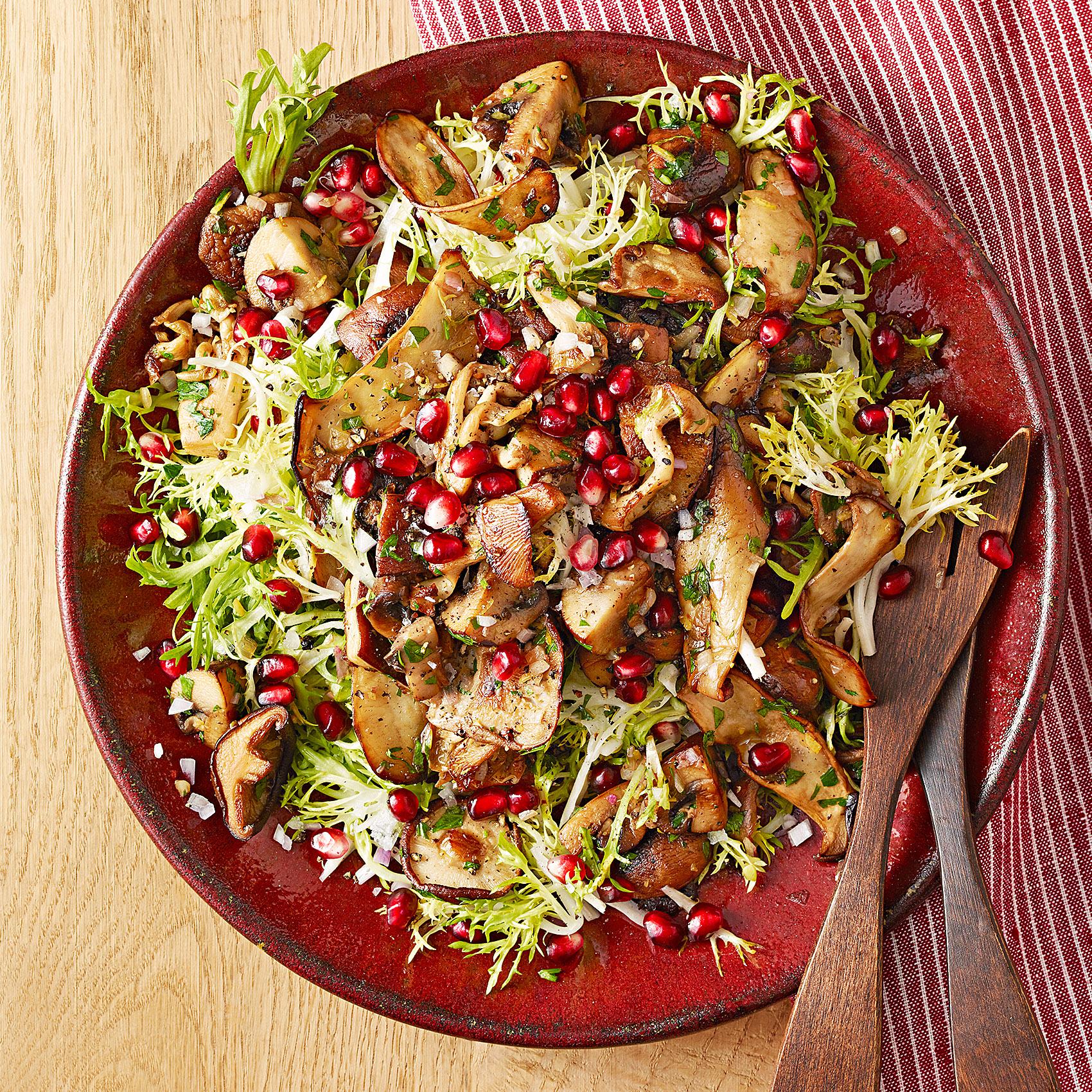 wild mushroom pomegranate salad