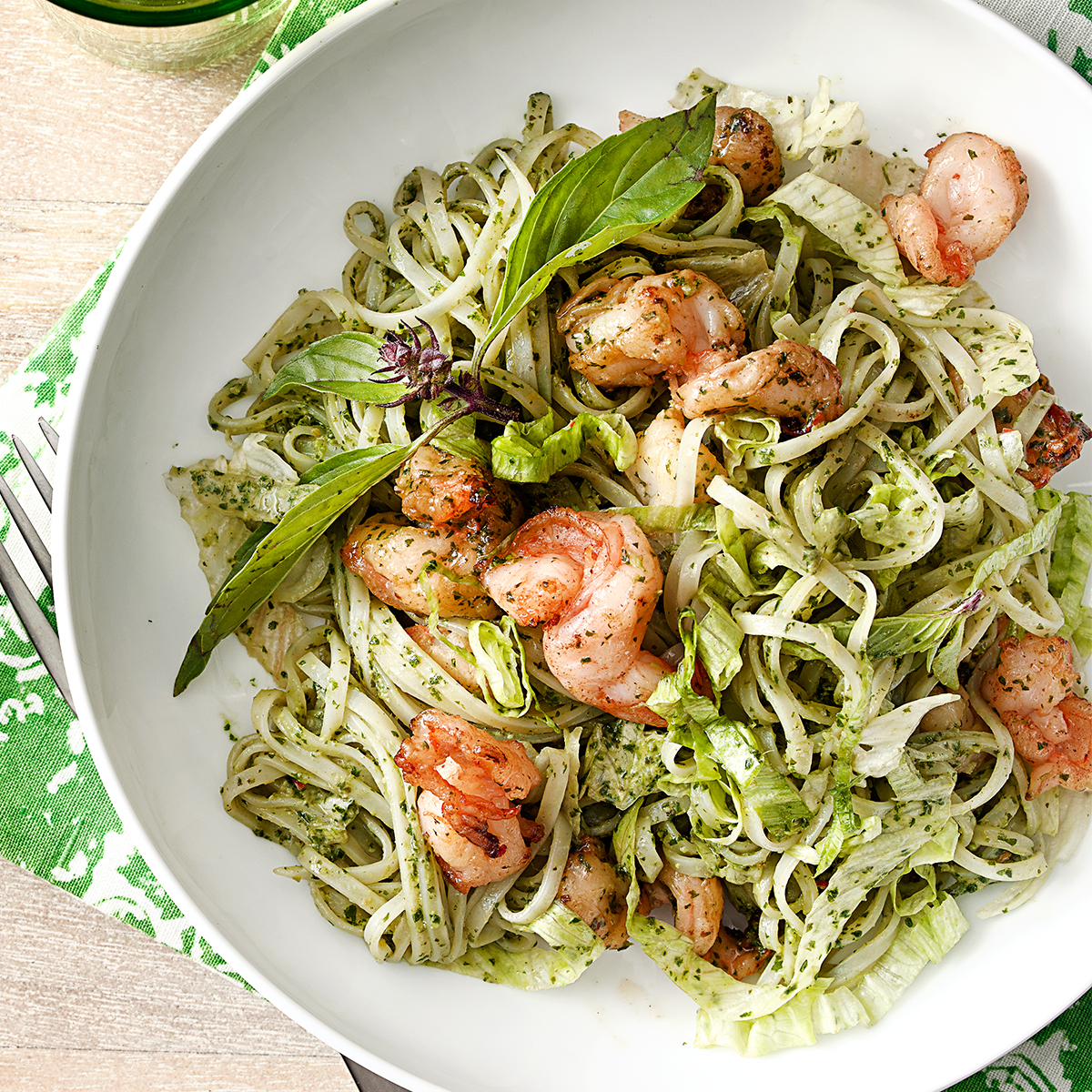thai pesto with ride noodles shrimp
