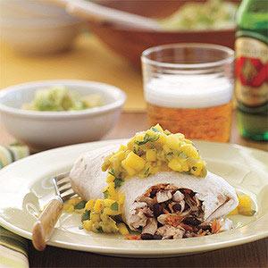Grilled Chicken Burritos with Mango Salsa