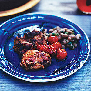 Grilled Chicken Thighs with Blistered Tomatoes